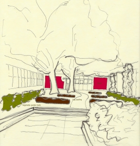 one of the early conceptual drawings for one of two outdoor classrooms