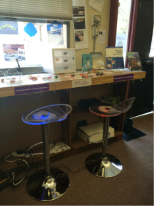 LED stools at the Little Bits bar at NMHS
